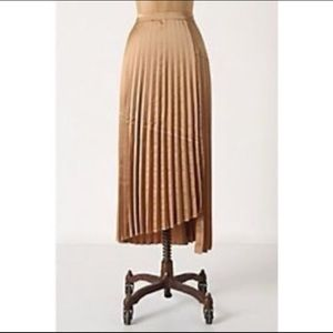 Anthropologie gold asymmetrical maxi skirt